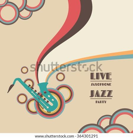 saxophone live show, jazz music concert - stock vector