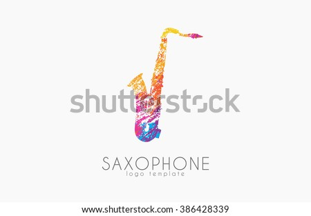 Saxophone logo design. Music logo. Creative logo. Color logo. Saxophone in grunge style. - stock vector