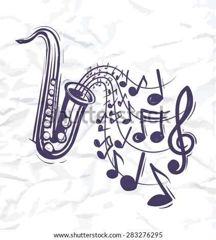 saxophone music concept sketch style vector illustration - stock vector