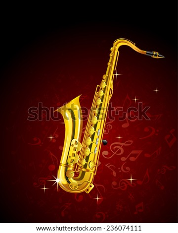 saxophone on musical background. vector illustration - stock vector
