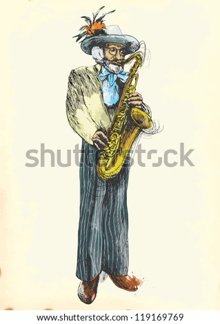 Saxophone player - Fabulously beloved grandfather. Description: Editable in nine layers. Number of colors in each layer: no more than sixteen. White color is excluded. - stock vector
