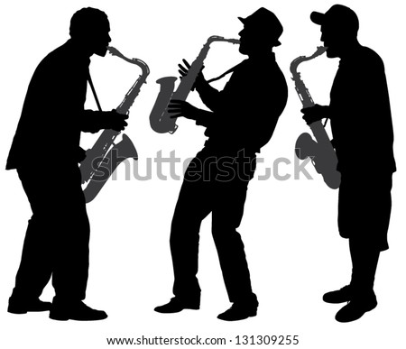 Saxophone Player Silhouette on white background - stock vector