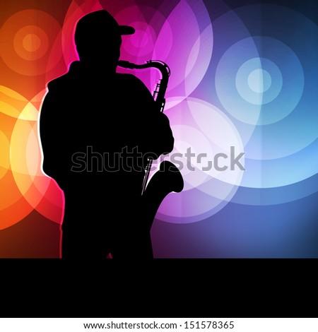 Saxophone player vector background neon concept - stock vector
