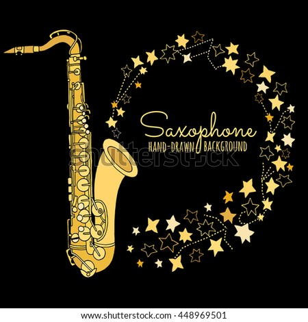 Saxophone vector illustration on black background. Jazz, blues music festival poster  template