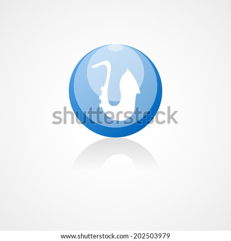 Saxophone web icon on white background - stock vector