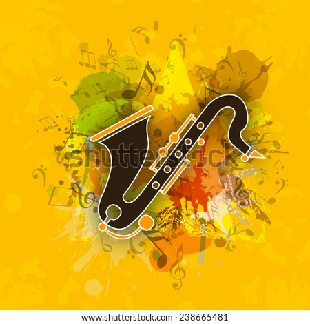 Saxophone with abstract swirl and musical notes on yellow grungy background. - stock vector
