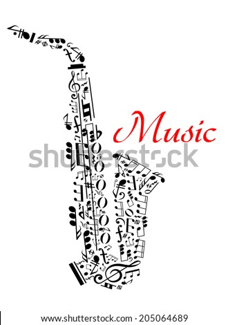 Saxophone with musical notes for entertainment and classic music concert design - stock vector