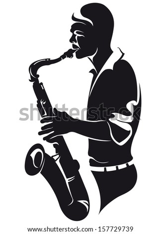 Saxophonist, silhouette - stock vector