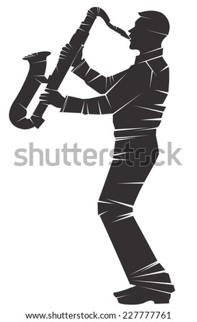 Saxophonist. Vector silhouette, isolated  - stock vector