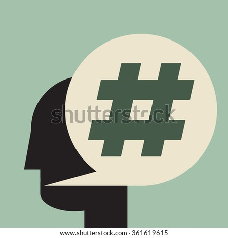 say hashtag, speech bubble with big number sign - stock vector