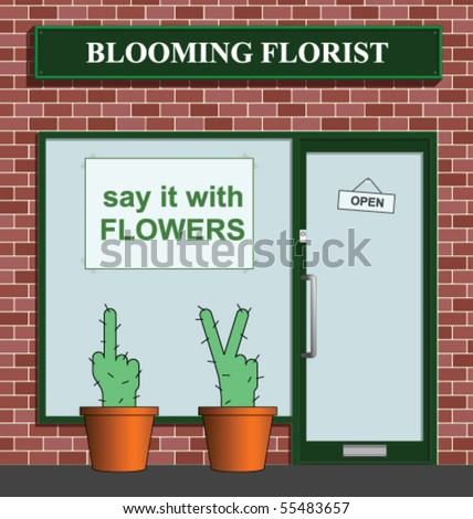 Say it with flowers florist with rude cacti - stock vector
