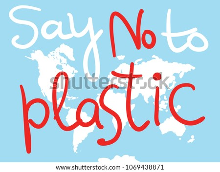 Say No Plastic World Map White Stock Vector Royalty Free - World map silhouette poster