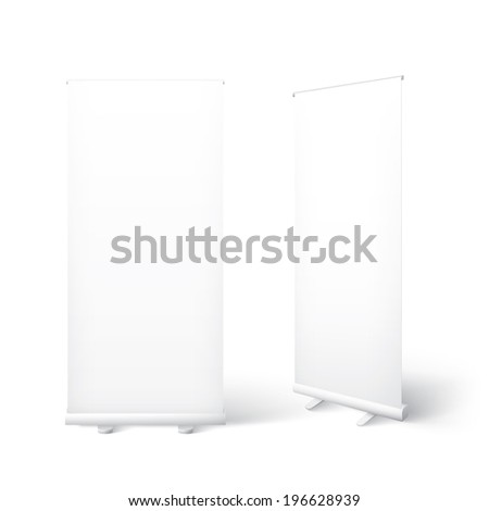 Scalable and isolated 3d vector placard illustrations of a realistic standing banners for business and marketing presentation in promotion and exhibition subject for your design