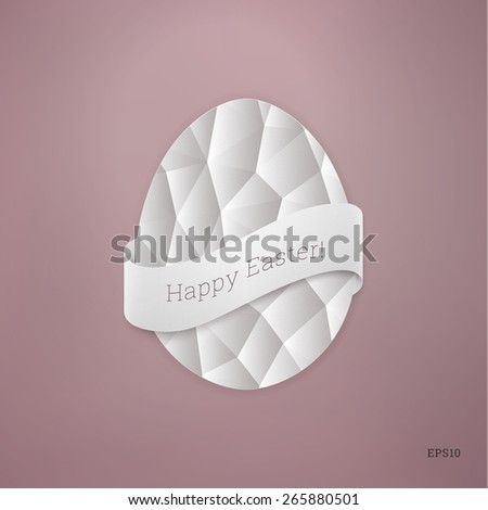 Scalable egg shape illustration with geometric pattern and ribbon for easter greeting, layouts, cover design - pastel pink version - stock vector