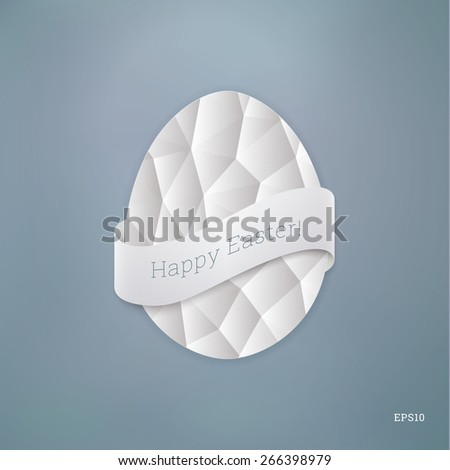 Scalable egg shape illustration with geometric pattern and ribbon for easter greeting, layouts, cover design - pastel blue version - stock vector
