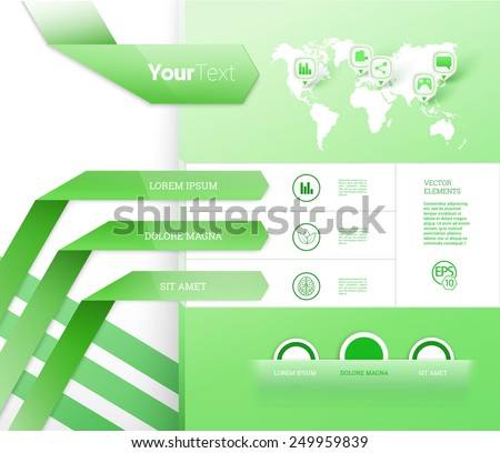 Scalable Eps10 Vector Composition of a Green Brochure Layout Design Elements For Digital or Printed Presentation - stock vector