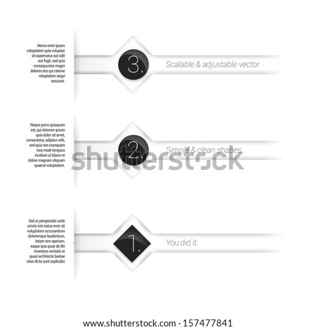 Scalable eps10 vector composition of an abstract minimal geometric paper background based bar elements with content field for numbering or lettering, for shiny circles and rectangle for universal use - stock vector
