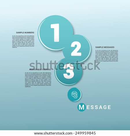Scalable Eps10 Vector Composition of Turquoise Rounds With Numbering  - stock vector