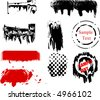 Scalable grunge brushes and design elements - stock vector