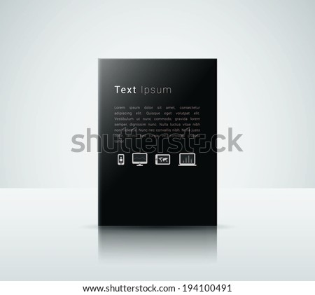 Scalable minimal 3D text box vector in A4 paper design with cloud computing icon set for web page background, infographics, exhibit - black version - stock vector