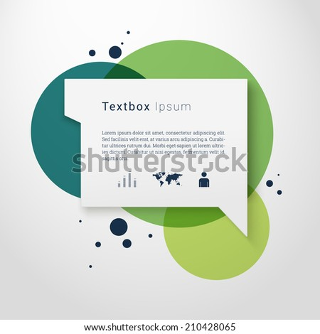 Scalable minimal 3D vector speech bubble on round colorful background with icon set for cover design, web page banner, layout, text box - green version - stock vector