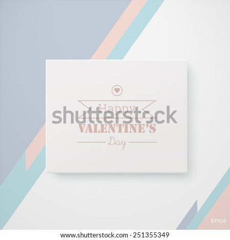 Scalable minimal 3d vector text box on wall with shadow for cover design, web page banner, layout, infographic - valentine's day version - stock vector