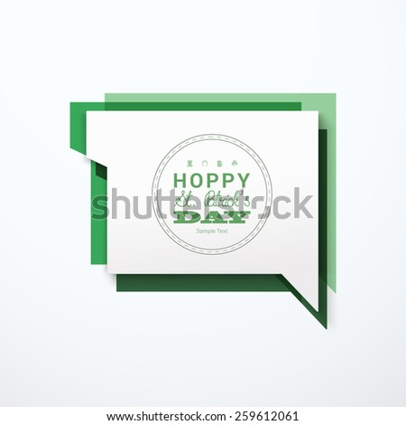Scalable minimal vector speech bubble on colorful background for holiday greeting, cover design, web page banner, text box - St. Patrick's Day version - stock vector