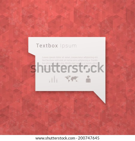 Scalable minimal vector speech bubble on geometric pattern background with icon set for cover design, web page banner, layout, infographics - red version - stock vector