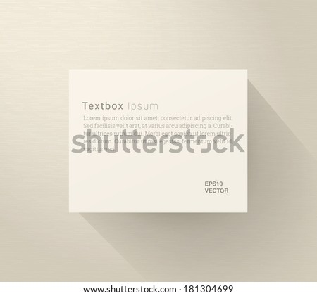 Scalable minimal vector text box for cover design, web page banner, layout, infographics - ivory version - stock vector