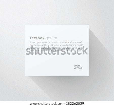 Scalable minimal vector text box on wall with long shadow for cover design, web page banner, layout, infographics - white version - stock vector