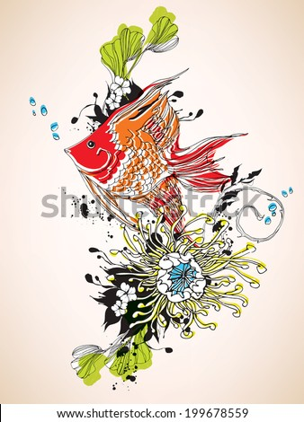 Scalar fish with underwater flowers eps10 - stock vector