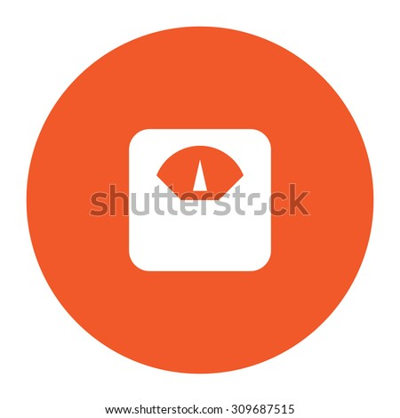 Scale. Flat white symbol in the orange circle. Vector illustration icon - stock vector