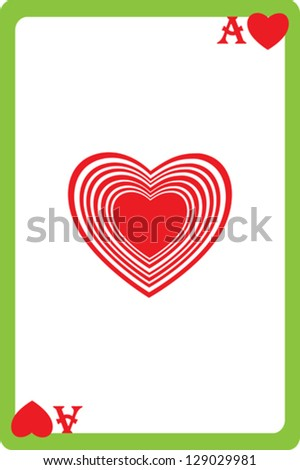 Scale hand drawn illustration of a playing card representing the ace of hearts, one element of a deck - stock vector