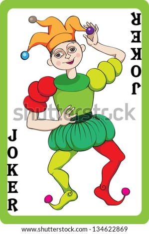 Scale hand drawn illustration of a playing card representing the joker, one element of a pack - stock vector