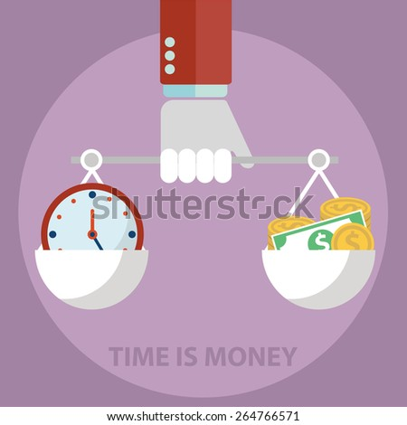 Scale weighing money and time. - stock vector