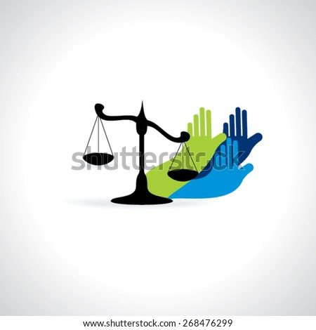 scale with hands rights for vector illustration  - stock vector