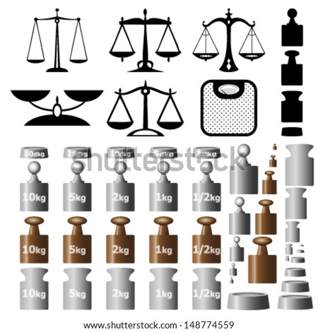 Scales and weights isolated on white background - stock vector