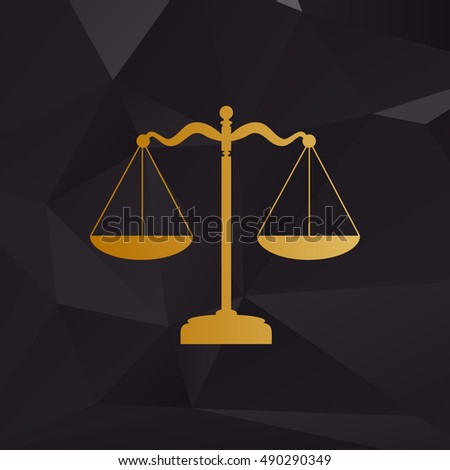 Scales balance sign. Golden style on background with polygons.