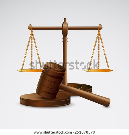 Scales justice and hammer - stock vector