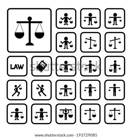 scales justice icon on white background  - stock vector