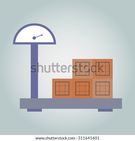scales, large industrial scales, scales street, boxes. isolated from background, vector - stock vector