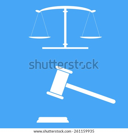 Scales of justice and gavel. Vector illustration.  - stock vector