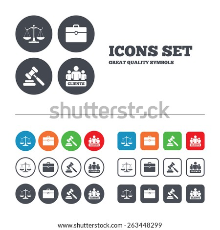 Scales of Justice icon. Group of clients symbol. Auction hammer sign. Law judge gavel. Court of law. Web buttons set. Circles and squares templates. Vector - stock vector