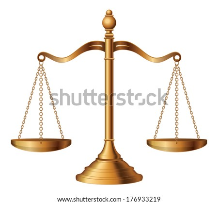 Scales of Justice is an illustration of the scales of justice symbolizing the measure of a case's support and opposition in a court of law. - stock vector