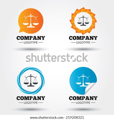 Scales of Justice sign icon. Court of law symbol. Business abstract circle logos. Icon in speech bubble, wreath. Vector - stock vector
