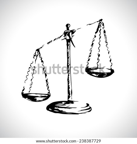 Scales of Justice. Sketch. Vector illustration. - stock vector