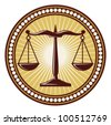 scales of justice symbol (scales of justice seal) - stock vector