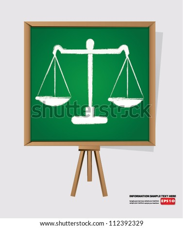 scales on blackboard background,Vector - stock vector