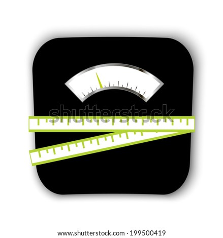 Scales with measuring tape, vector illustration. Healthy lifestyle and weight loss symbol - stock vector