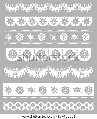 Scalloped Christmas Digital Seamless Borders with Snowflakes - stock vector